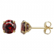 5mm round Garnet cubic zirconia January Birthstone 9ct gold stud earrings